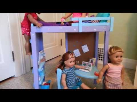 American Girl Doll Loft Bed Tour Handmade
