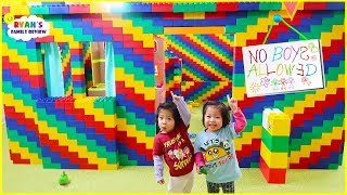 24 hours Giant lego box fort house! No Boys Allowed!