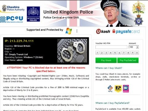 How to get rid of United Kingdom Police virus (Cheshire police Authority Ukash Scam)