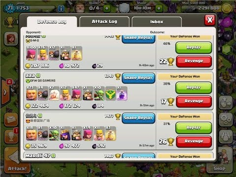 Clash of Clans 2014 Best defense layout  Townhall Level 8 - Won 4 defenses in a row
