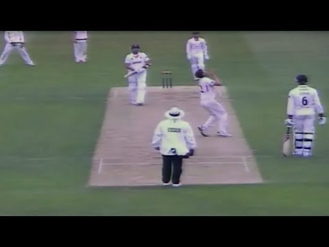 Kyle Hogg puts in a contender for drop of the season during Lancashire's match with Essex.