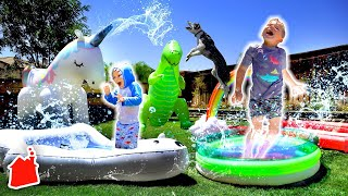 Ollie & Finn Turn the Backyard into a REAL WATERPARK!! 🏖