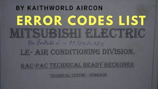 Mitsubishi electric ac error codes list