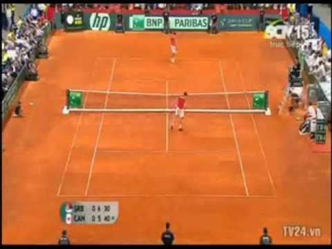 Hot shot of the day! Novak Djokovic vs Milos Raonic - Davis cup 2013