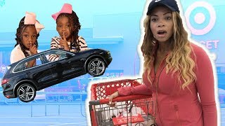 Stolen Car Prank On Mommy!  Funny Sisters Pretend Play
