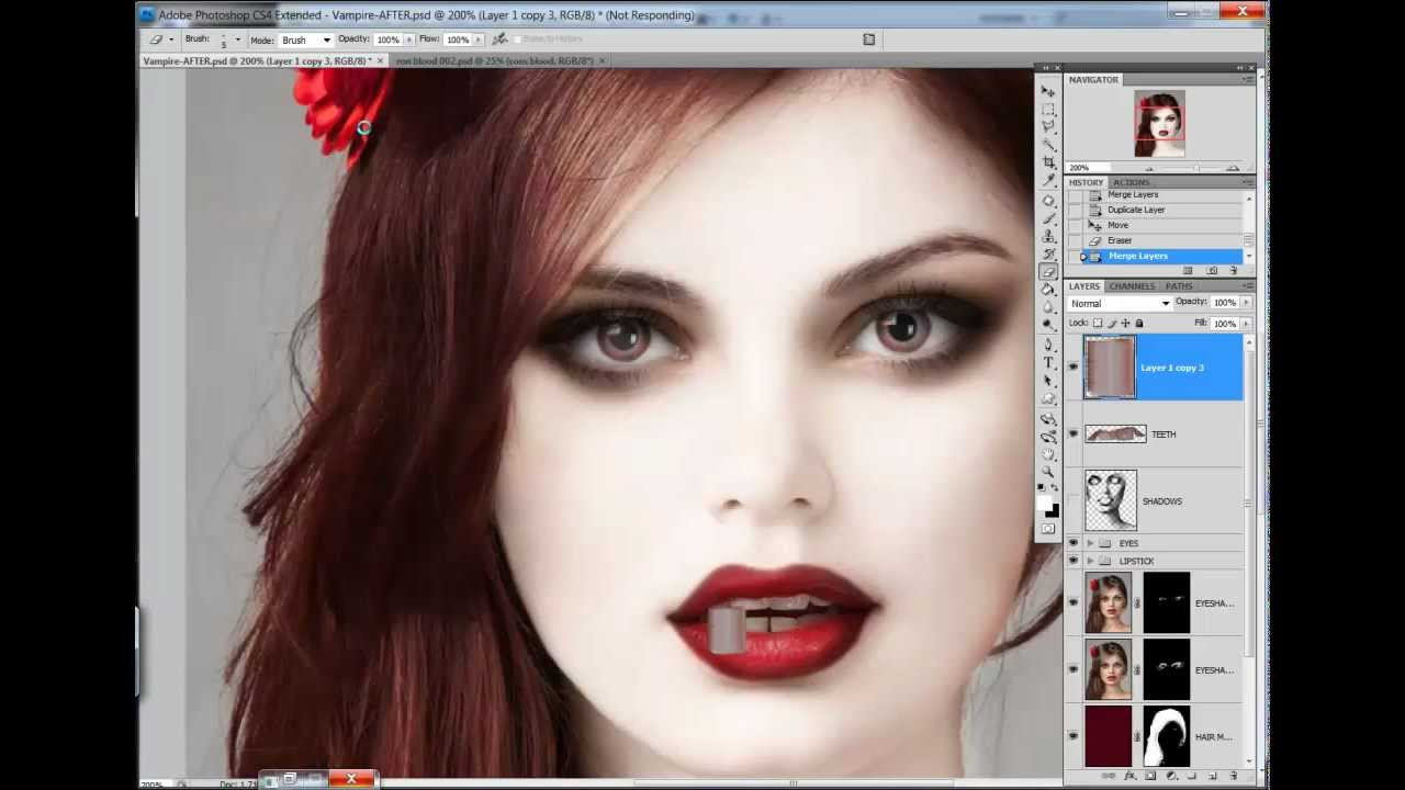 Как сделать вампира из себя в фотошопе 105