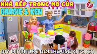 ĐỒ CHƠI TRẺ EM - NGÔI NHÀ BẾP TRONG MƠ CỦA BARBIE - Diy Miniature Dollhouse Kitchen