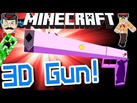 Minecraft EPIC 3D HANDGUN! Amazing Gun Mod!