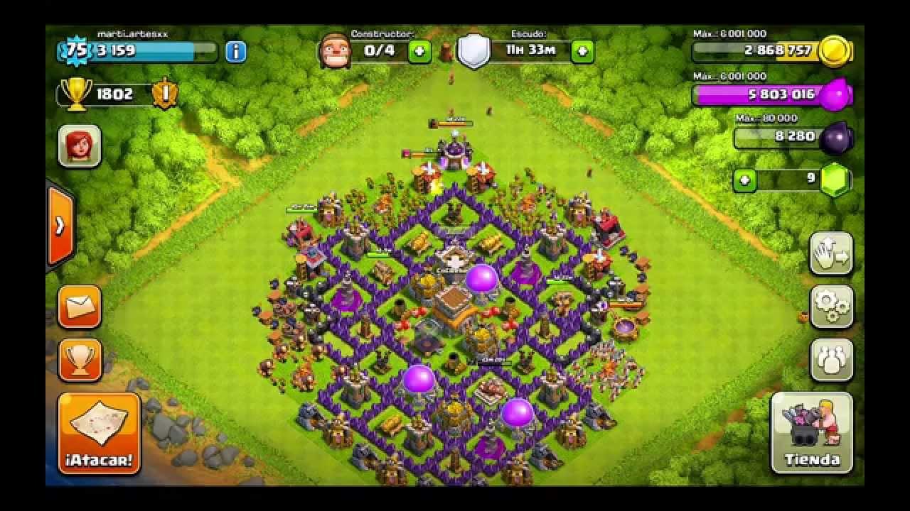 Clash of clans Mejor diseño ayuntamiento nivel 8 (para trofeos