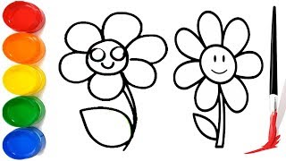 How to draw Flower For Children | Learn Colors For Kids | Flower Coloring Easy Drawing
