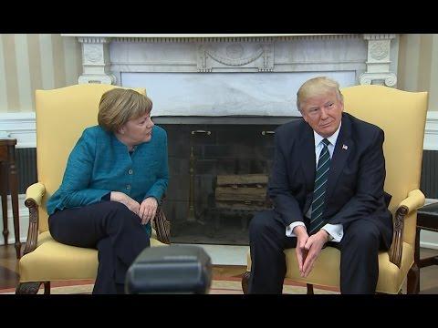 US President Donald Trump ignore Germany's Chancellor Angela Merkel handshake request
