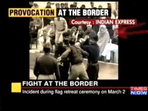 Wagah Brder Pakistani ranger gets beaten by Indian Female BSF Soldier.mp4