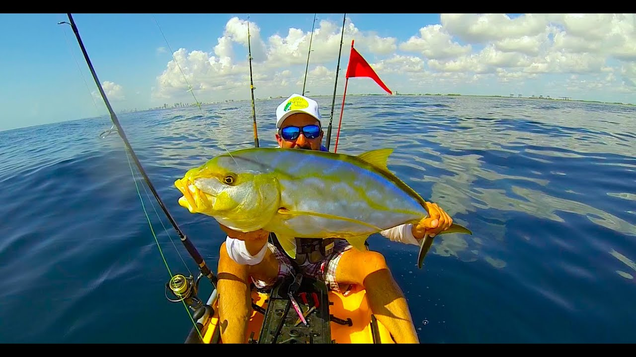 Kayak fishing yellow jack on dania beach fl youtube for Saltwater fishing in florida