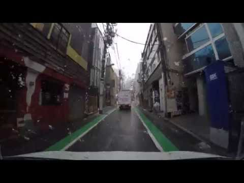 Driving in Tokyo - Around Shibuya in the snow