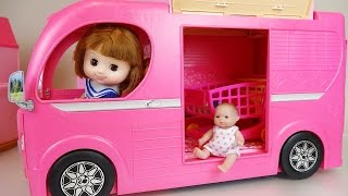 Pink Camping BUS and Baby doll toys picnic play