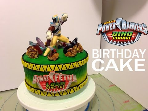 Power Rangers Dino Charge personalized birthday cake idea and tutorial   Gâteau d'anniversaire!