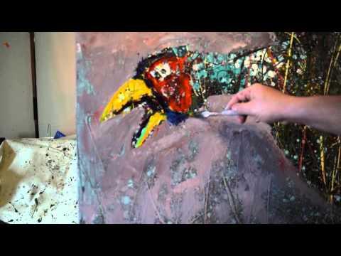 Artist Michael Glass painting session: pheasant & fox