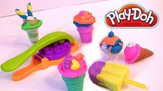Play doh Scoops 'n Treats DIY Ice Cream Cones, Popsicles, Sundaes, Waffles Play Dough Desserts