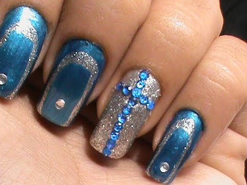 Christian Dior Nails - Blue Cross Glam Nail Art Design with Easy ...