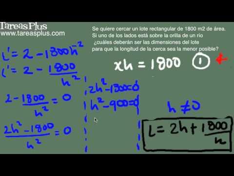 Aplicación máximos y mínimos (Longitud de una cerca) parte 2