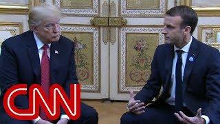 Trump, Macron meet face-to-face after tweet