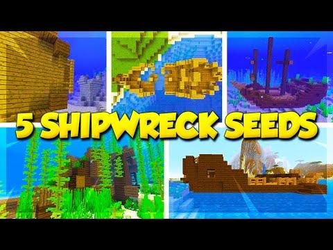 5 SHIPWRECK SEEDS for MINECRAFT 1.13! (Minecraft Update Aquatic Seeds)