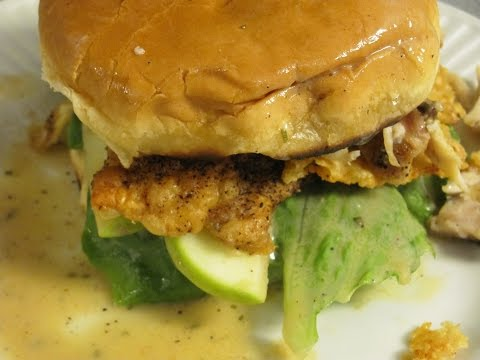 Bacon apple and Chicken sandwich w creamy Caesar vinaigrette, Parmesan cheese crisp