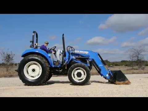 Demo Video of 74hp New Holland T4.75 Tractor with loader. Shuttle Shift Transmission. 4x4