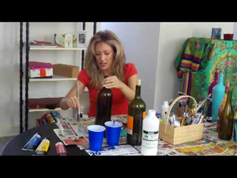 How to paint wine bottles youtube for What paint do you use to paint wine glasses