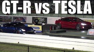 Tesla Model S P100D Ludicrous Mode vs Nissan GTR R35