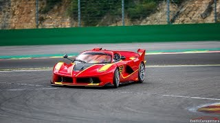 Ferrari FXX K #13 FLATOUT on Spa-Francorchamps - Flames, Downshifts & Accelerations !