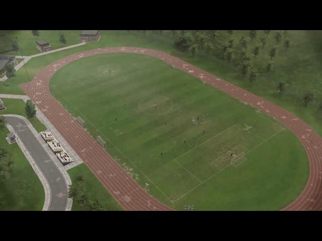 Girl nude on football field