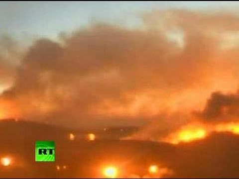 CCTV Time Lapse: Fierce fire rages over Israel