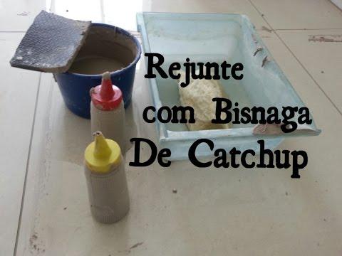 REJUNTE DE PORCELANATO COM BISNAGA DE CAT CHUP ECONOMIA DE 50% DE TEMPO E DE REJUNTE