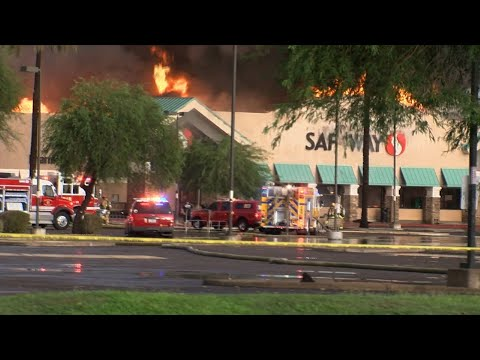 Raw: Three-Alarm Fire Guts Phoenix Supermarket