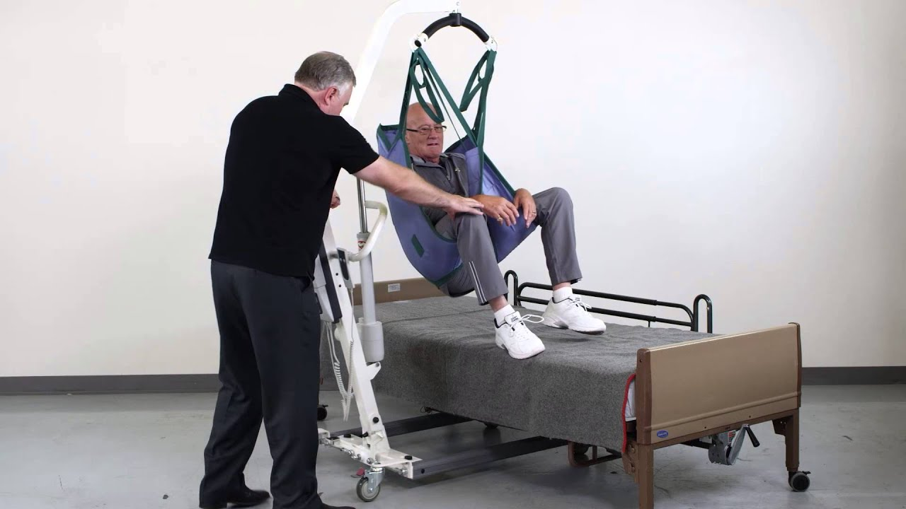 Patient Lift Transfer from Chair to Bed - YouTube