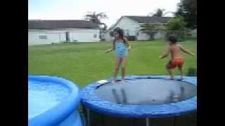 My family life! Jumping in the pool.