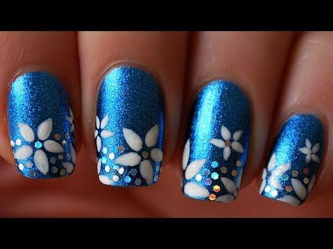 tuto nail art les fleurs en forme d 39 toile youtube. Black Bedroom Furniture Sets. Home Design Ideas