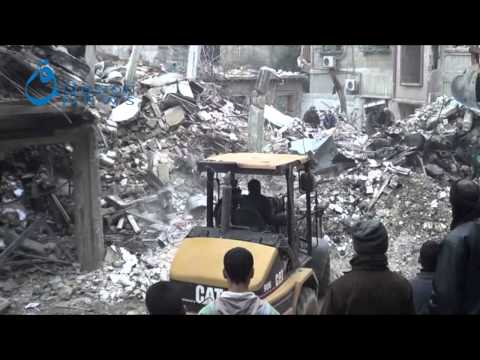Qasion News,Damascus,Searching for missing under rubbles after 6 days of Douma's massacre 16-02-2015
