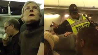 AN ELDERLY WOMAN WAS KICKED OFF A PLANE FOR BERATING A TRUMP SUPPORTER!