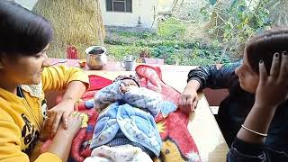 funny NepalI baby enjoy with sister