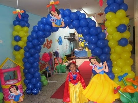Decoracion fiesta tematica princesa disney blanca nieves - Decoracion para fiestas de cumpleanos infantiles ...