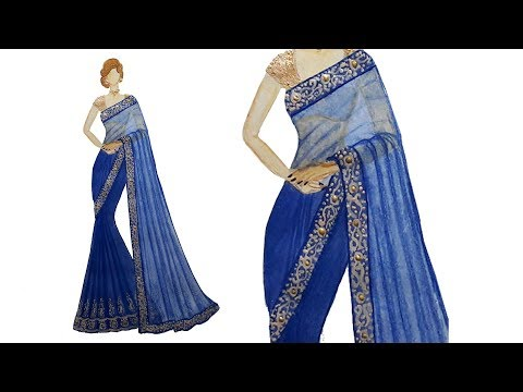 Fashion illustration: Saree design