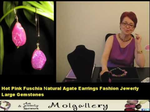 0 Hot Fuschia Pink Large Slabs Agate and Green Jade Necklace L Agate Jewerly V.wmv