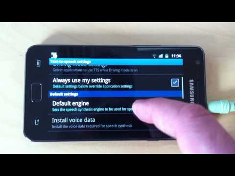 Text to Speech on Android. Samsung Galaxy S II