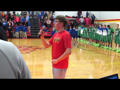 Biship Fenwick High School, Boys Basketball Senior Night, National Anthem - 02/20/2014