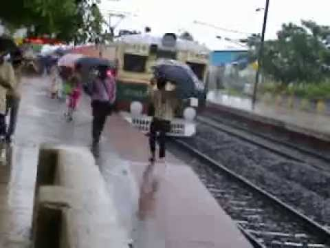 Indian People Come From Train In Raining Days video