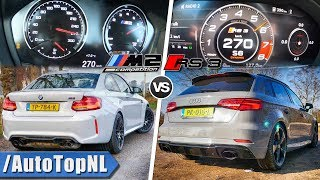 BMW M2 COMPETITION vs AUDI RS3 | ACCELERATION TOP SPEED & SOUND by AutoTopNL
