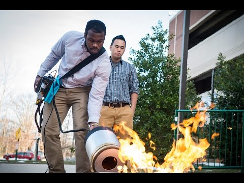The fire extinguisher uses low-frequency sound waves to douse a blaze. Engineering seniors Viet Tran and Seth Robertson now hold a preliminary patent application for their potentially revolutionizi...