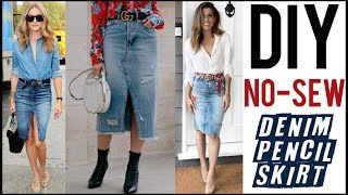 DIY: How To Make a Denim Pencil Skirt - NO-SEW!! - by Orly Shani
